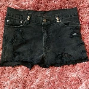 Black studded Levi's shorts